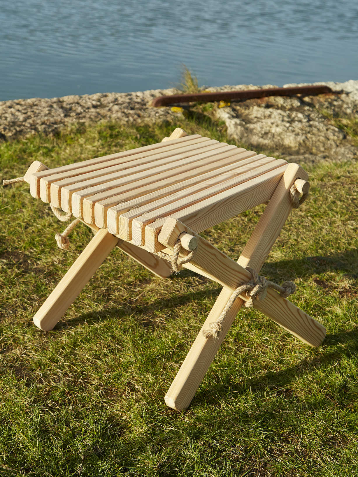 Nordic House Larch Side Table/Foot Stool