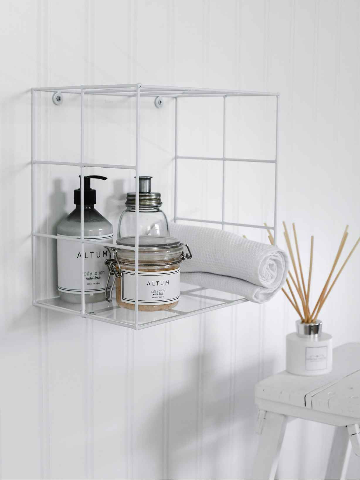Nordic House White Wire Box Shelf