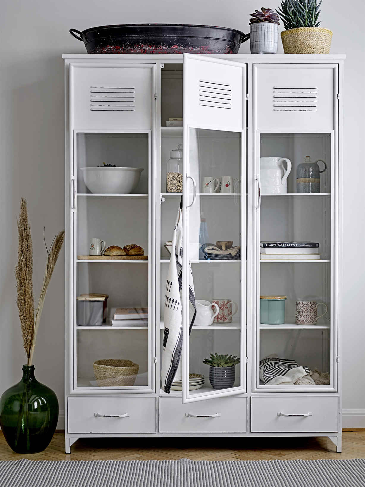 Nordic House White Locker Style Cabinet