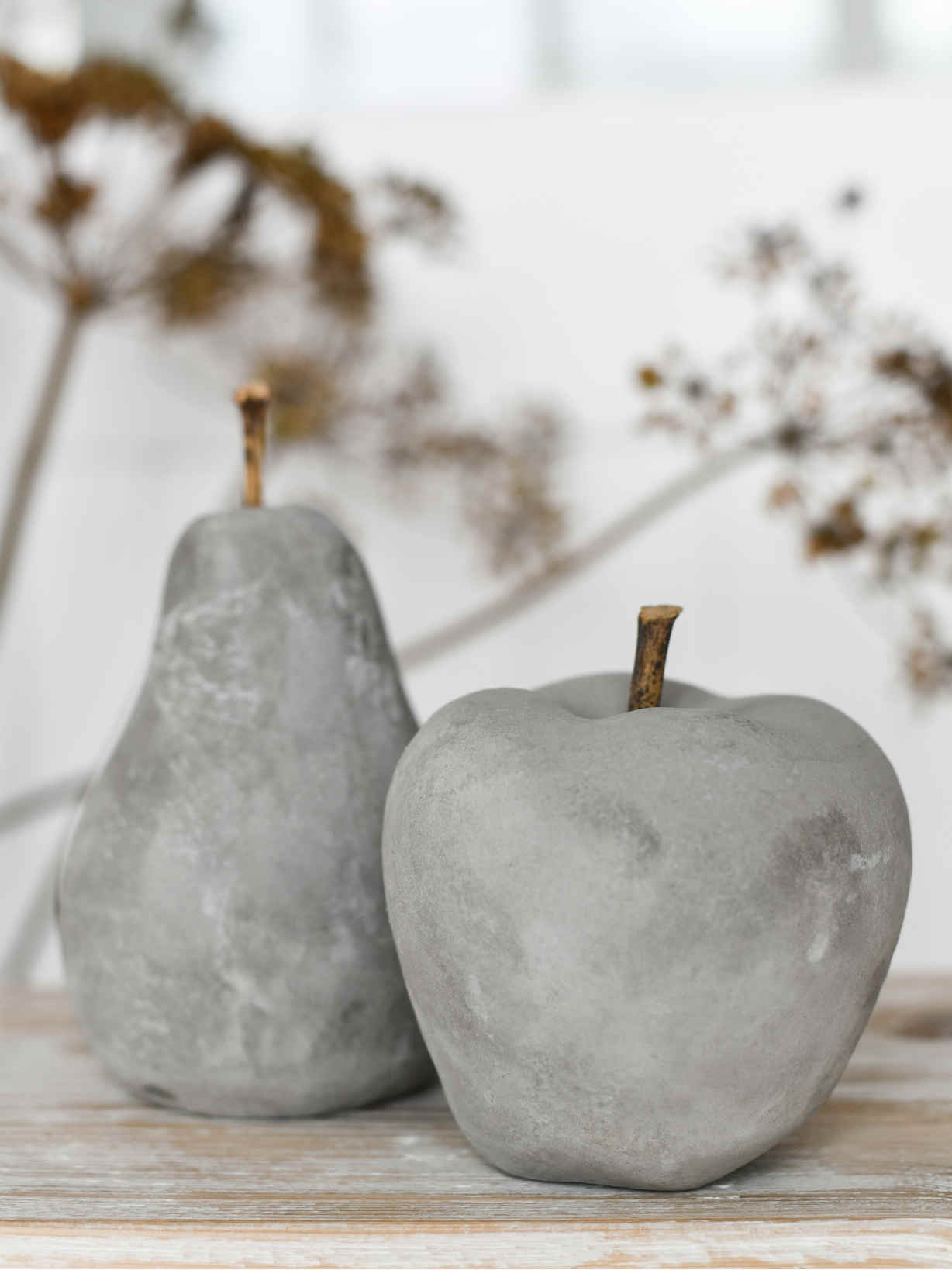 Nordic House Concrete Apple and Pear Set