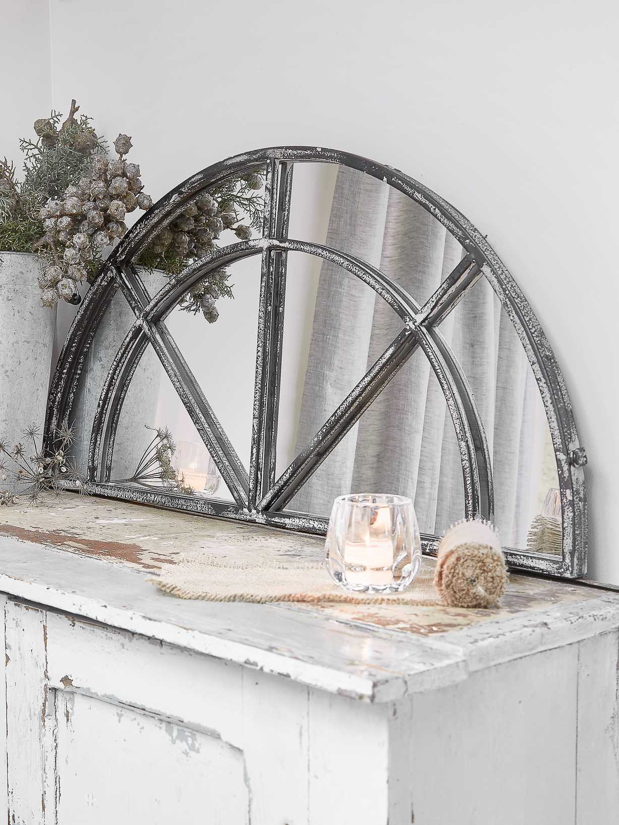 Nordic House Loft-Style Window Mirror - Half Moon