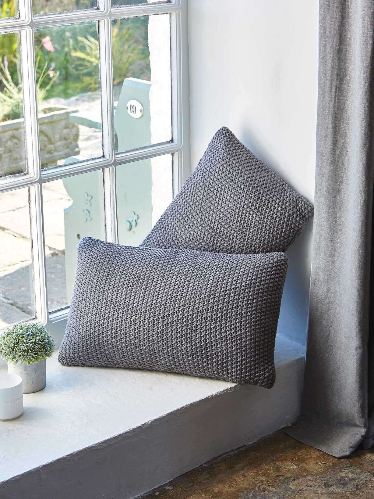 Nordic House Textured Grey Cushion