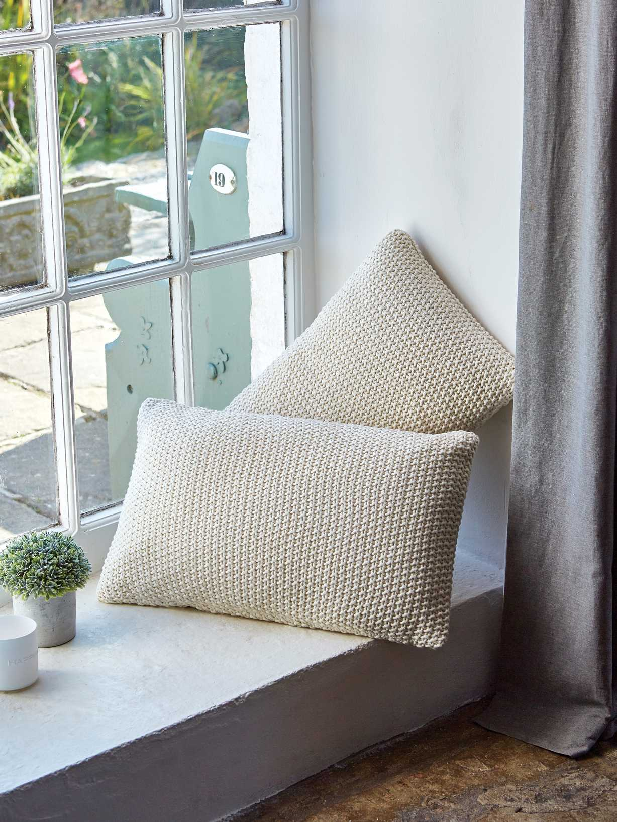 Nordic House Textured Ivory Cushion