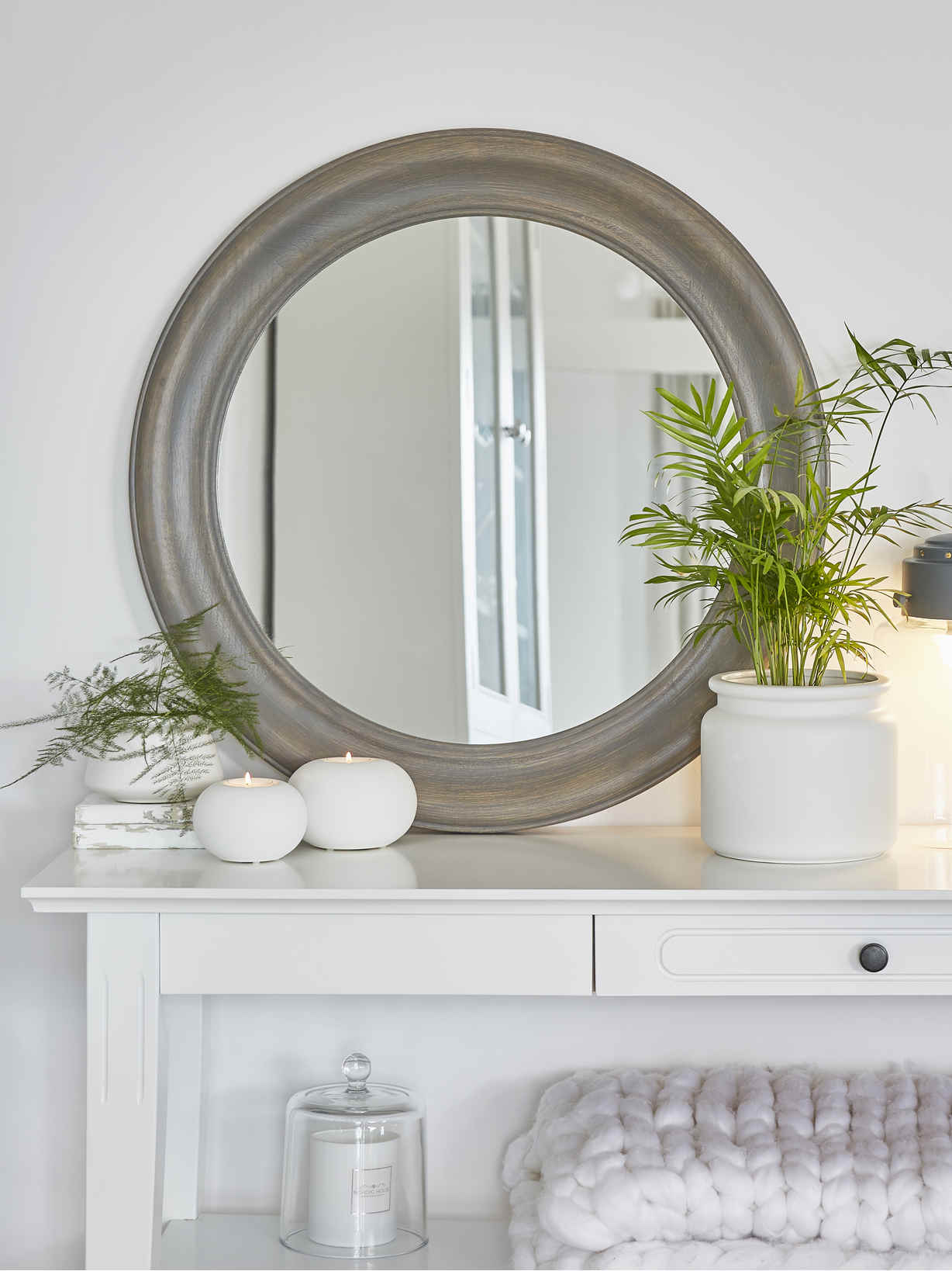 Nordic House Grey Wooden Mirror - Round
