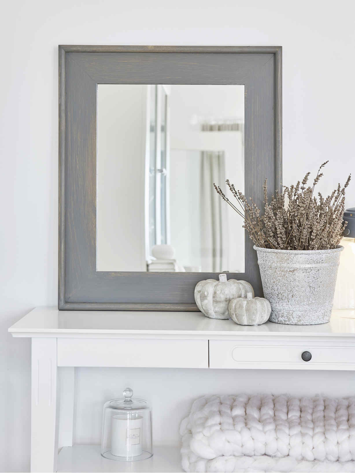 Nordic House Grey Wooden Mirror