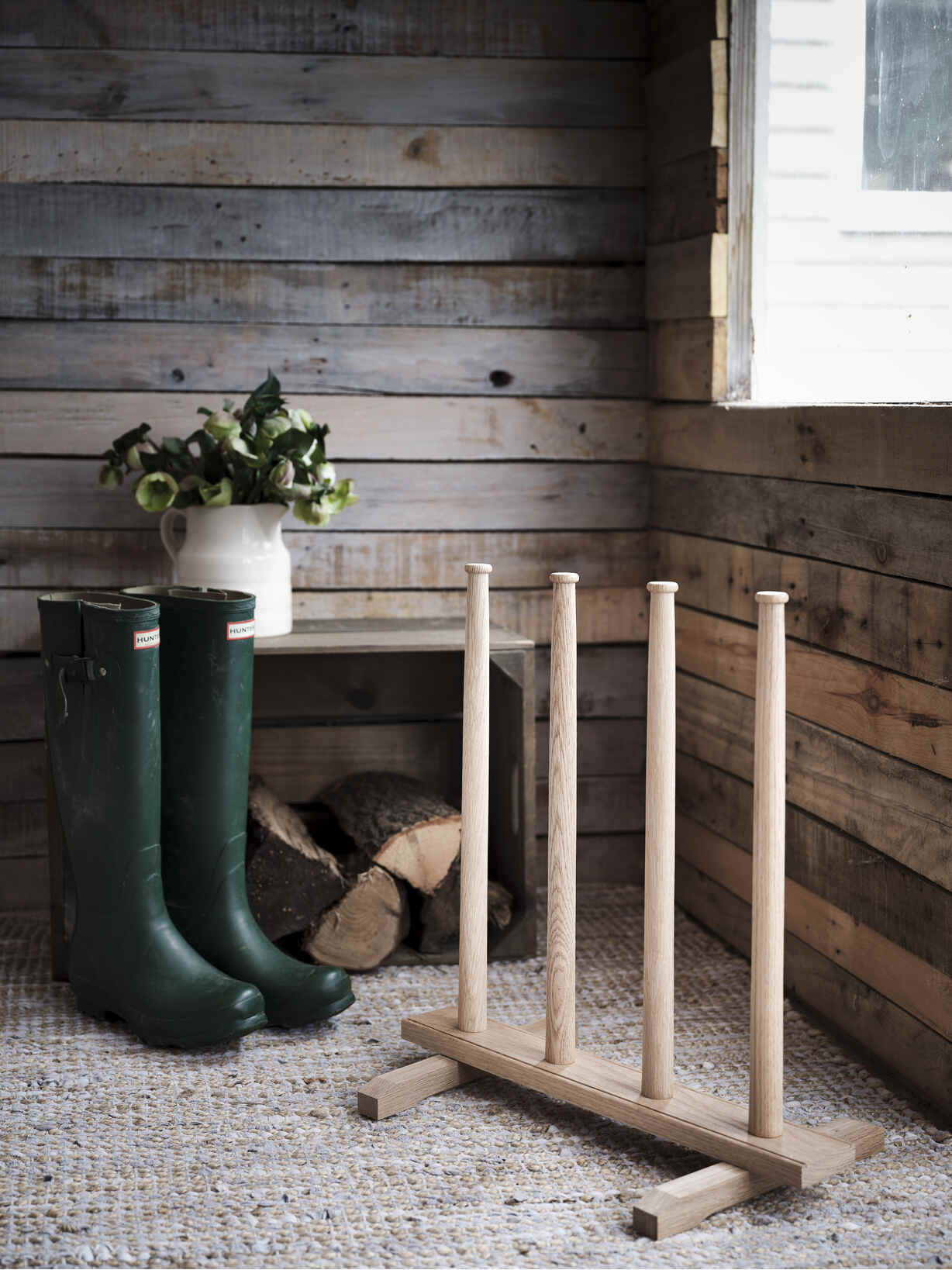 Nordic House Oak Wellington Boot Stand