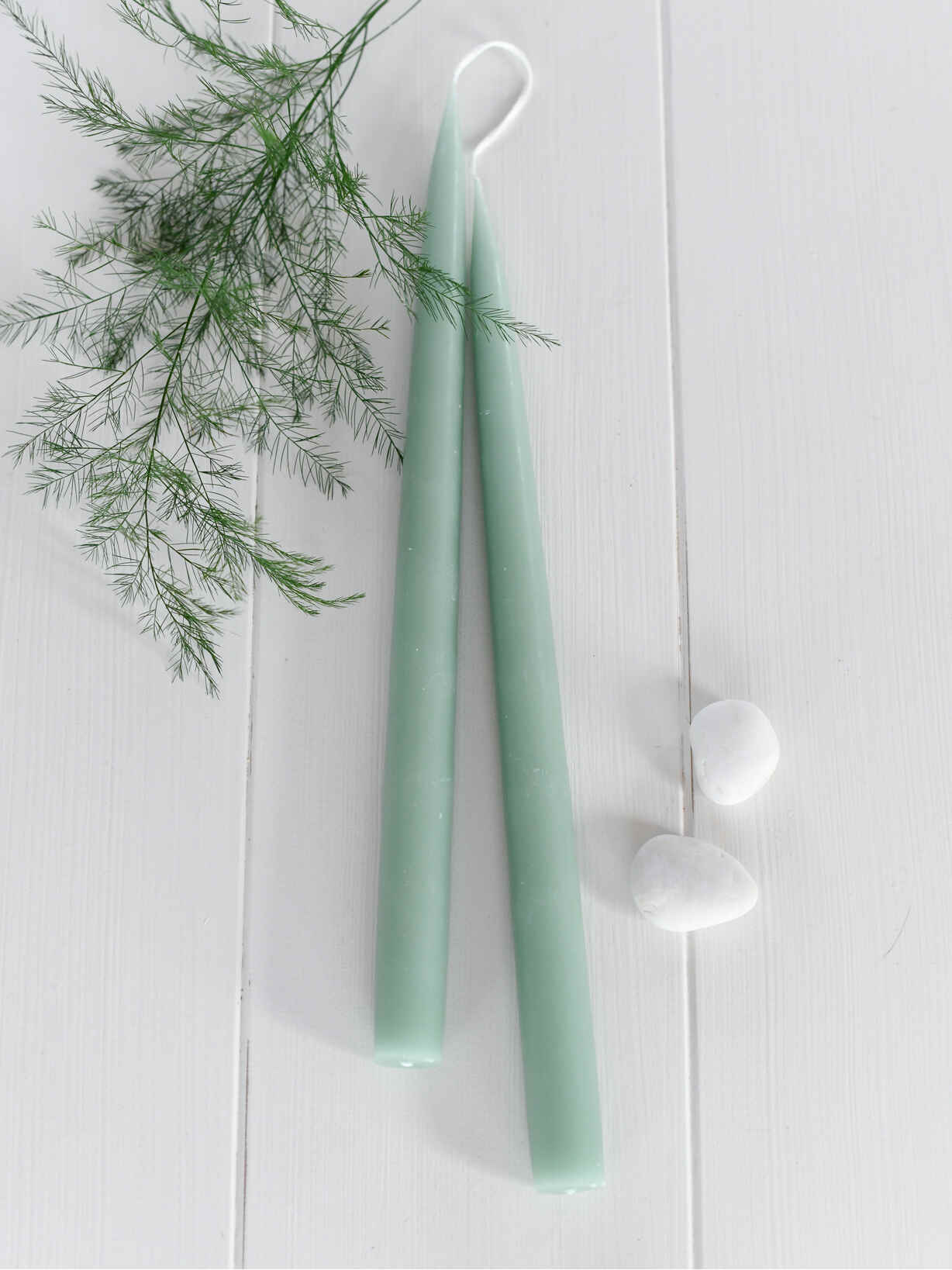 Nordic House Tapered Dinner Candles - Soft Green