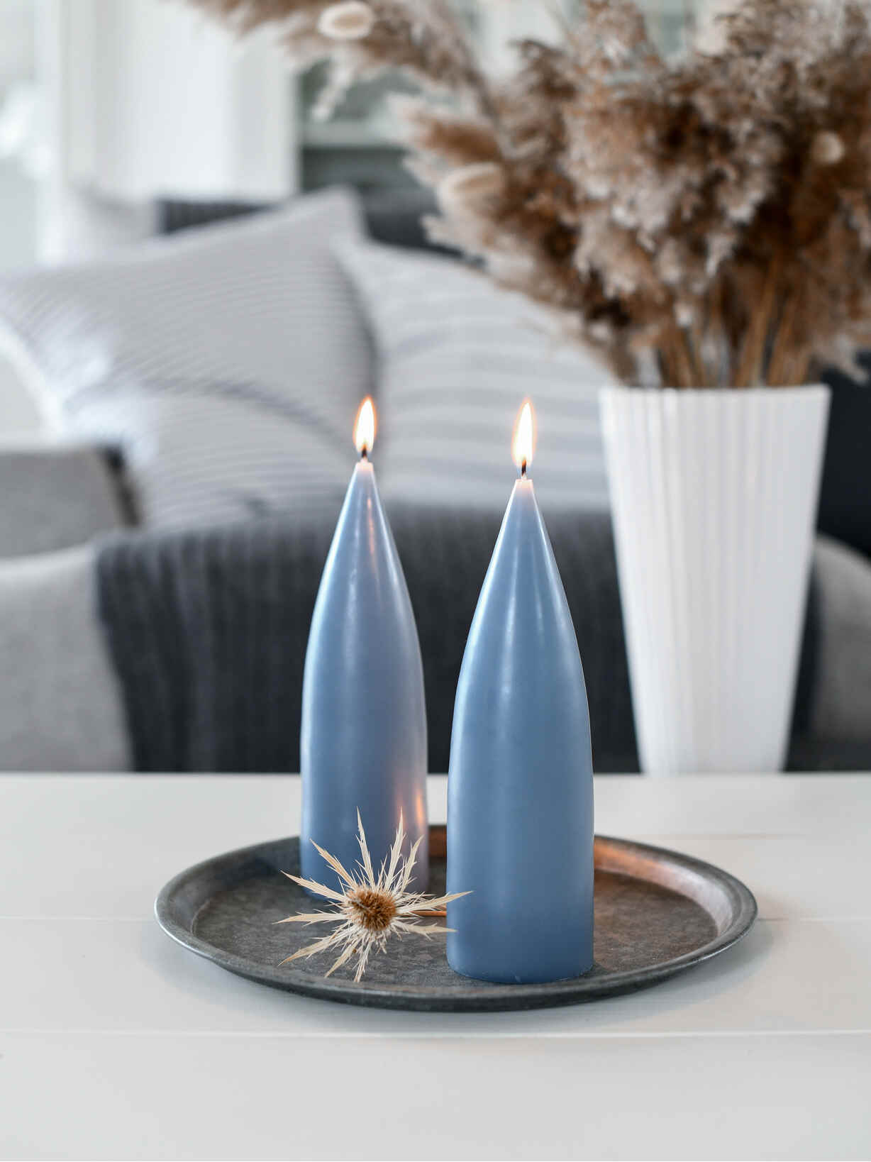Nordic House Danish Cone Candle - Blue Grey