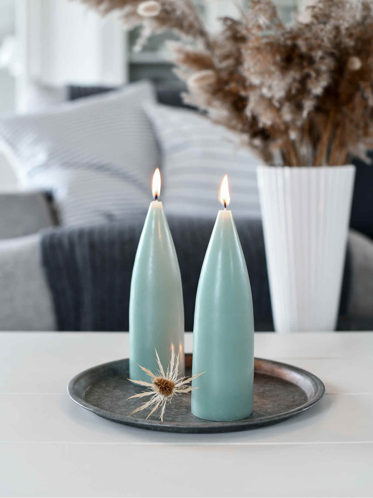 Nordic House Danish Cone Candle - Soft Green