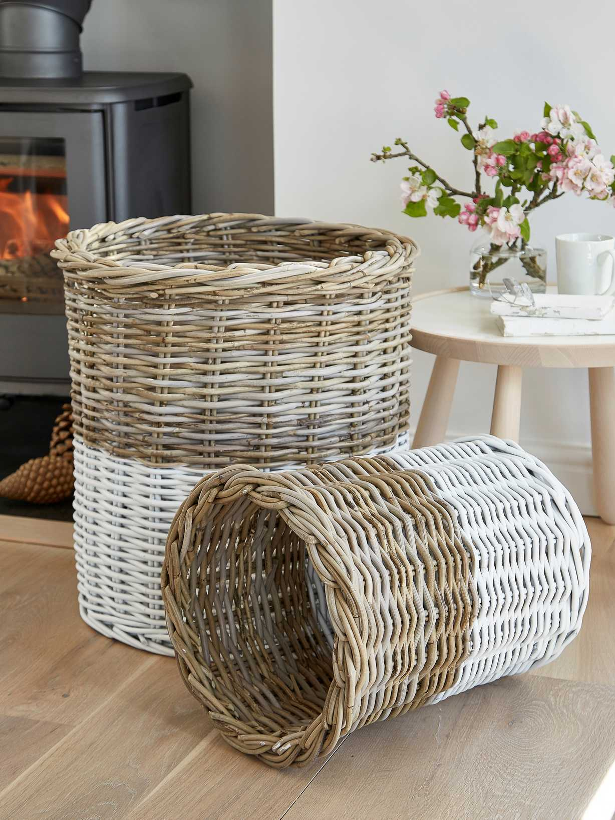 Nordic House White Dipped Basket Set