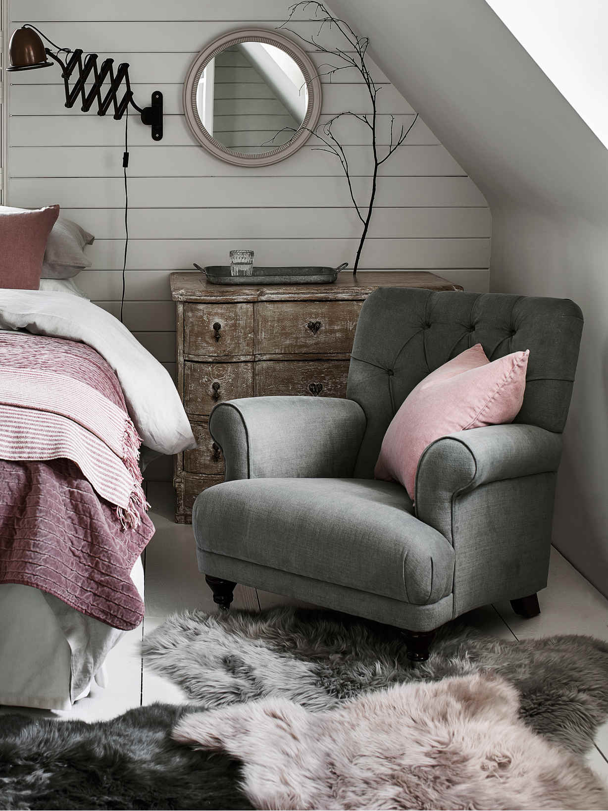 Nordic House Avalon Button Back Armchair - French Grey