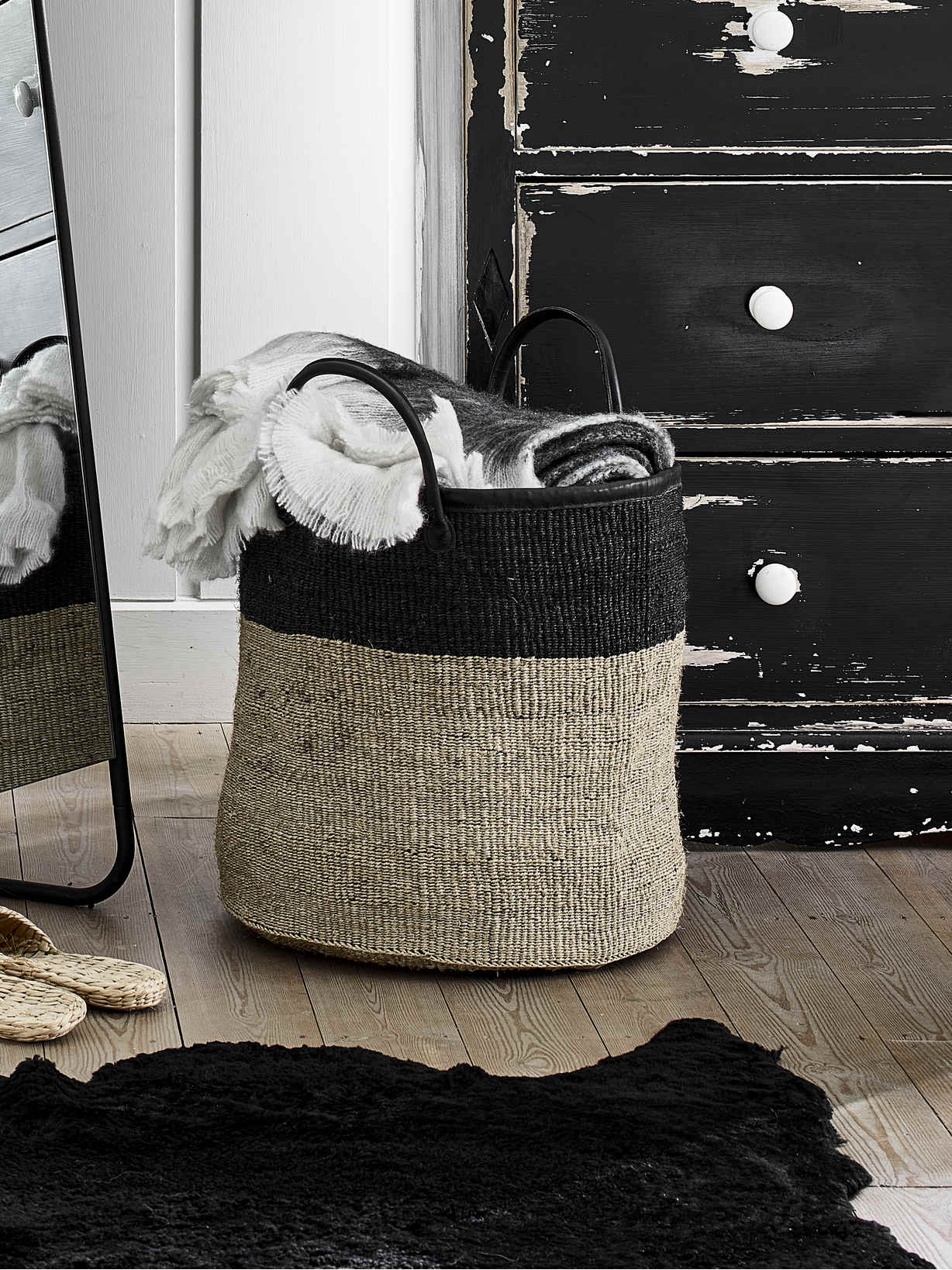 Nordic House Large Sisal & Leather Basket