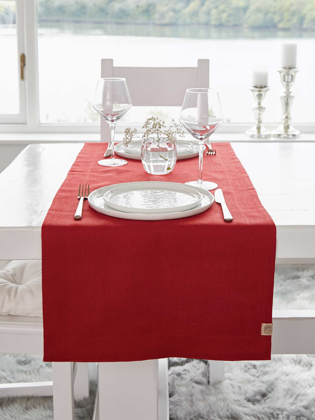 Nordic House Double Linen Table Runner - True Red