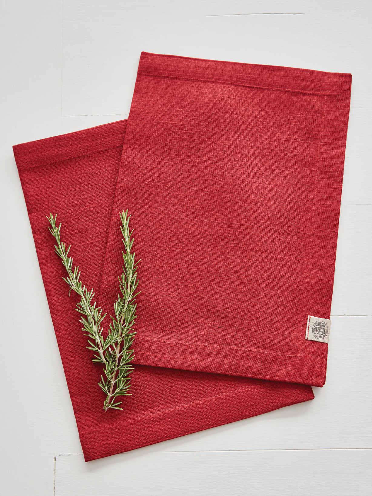 Nordic House True Red Linen Placemats - Set of 2