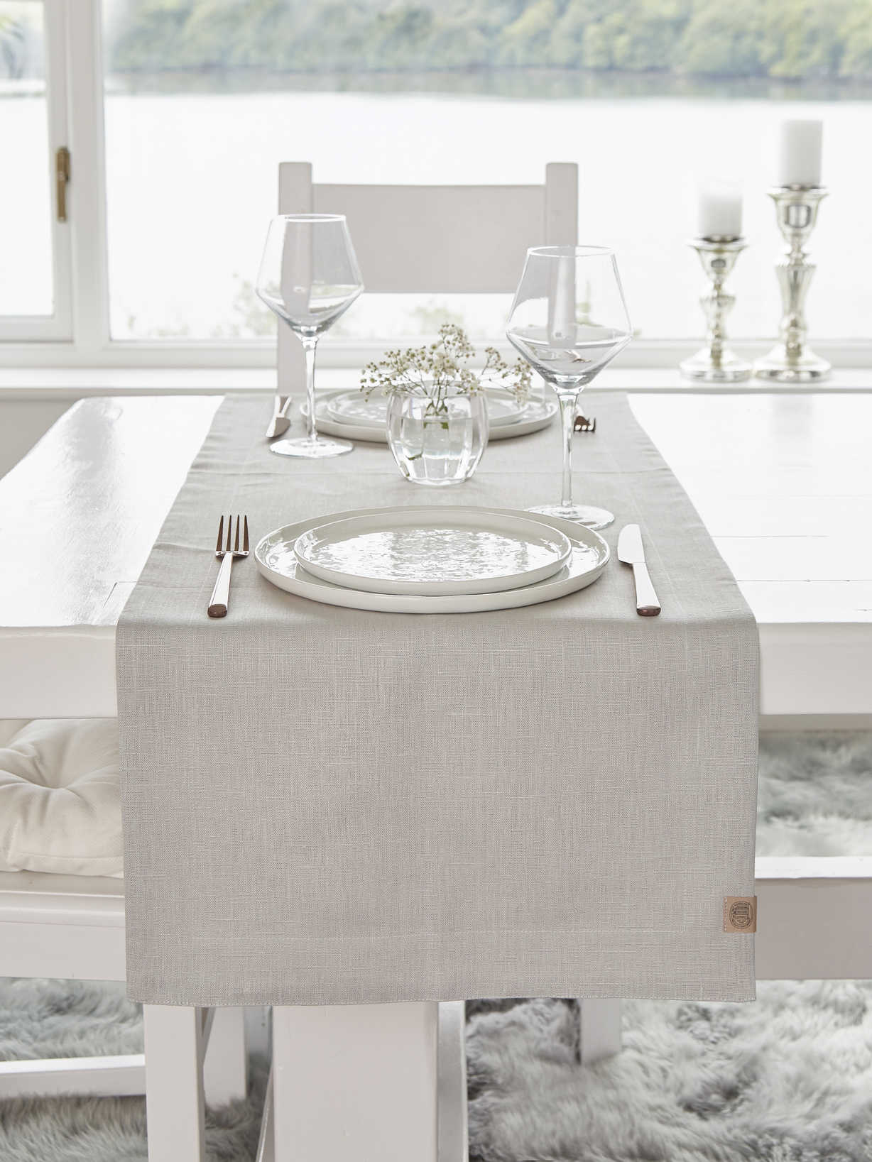 Nordic House Double Linen Table Runner - Light Grey
