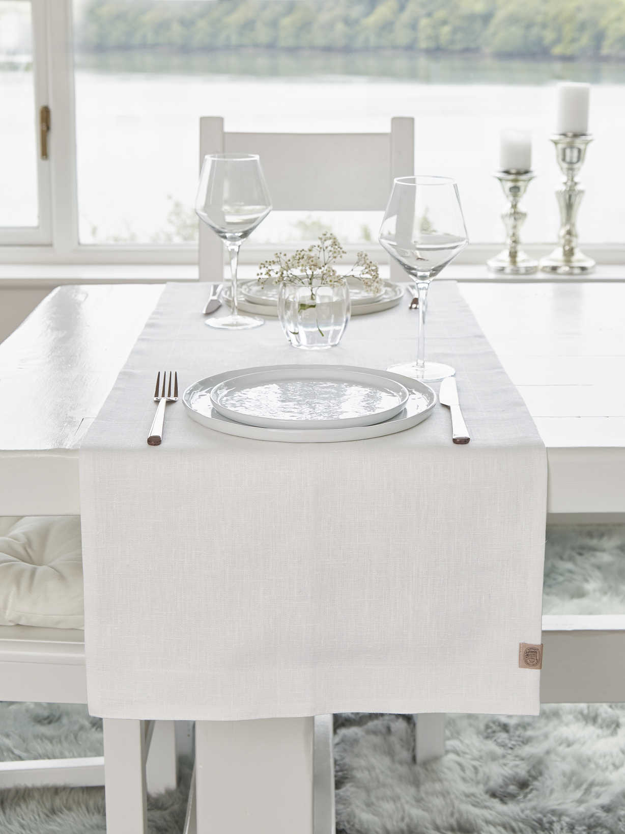 Nordic House Double Linen Table Runner - Ivory