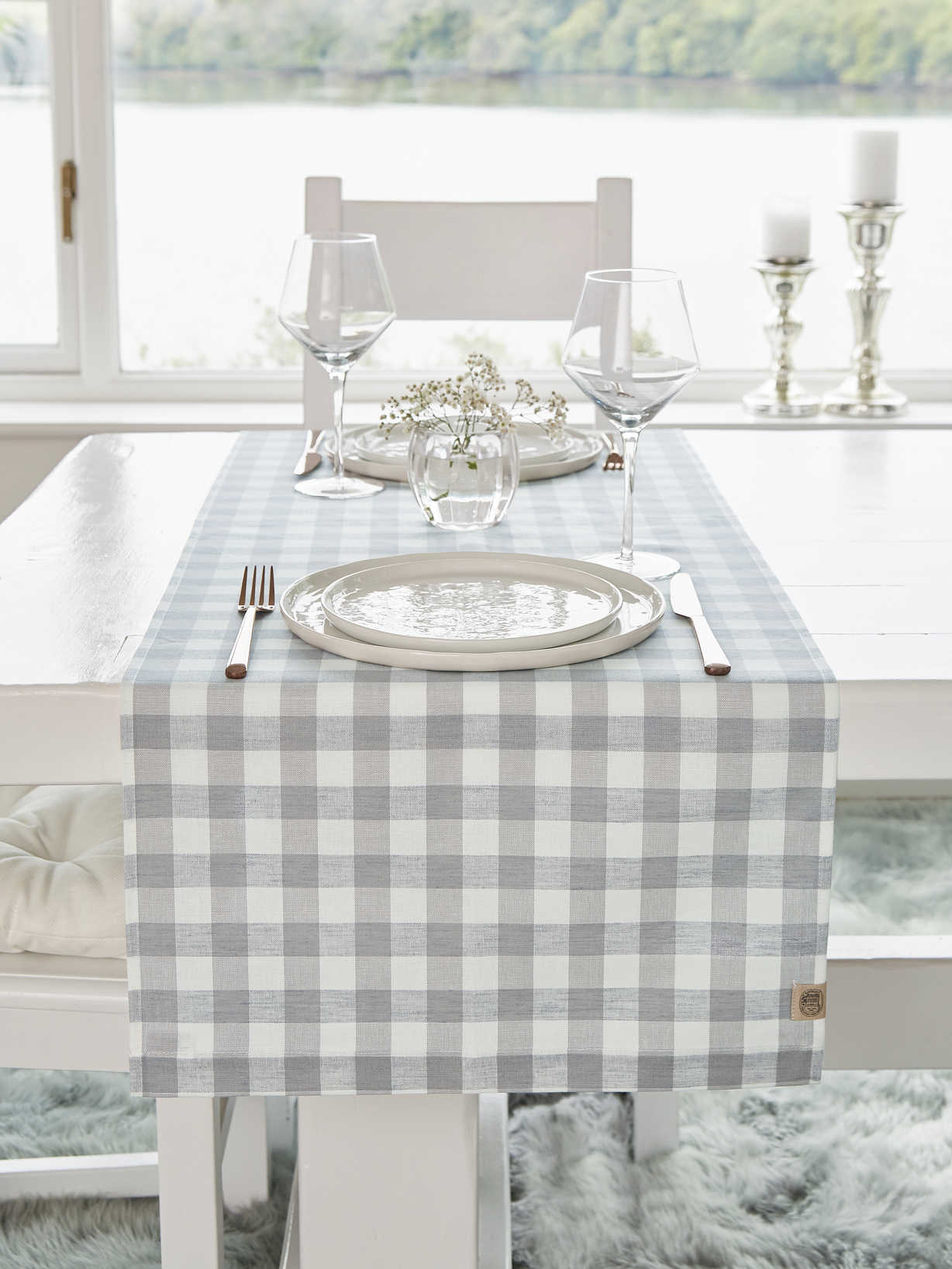 Nordic House Linen Mix Table Runner - Light Grey Check
