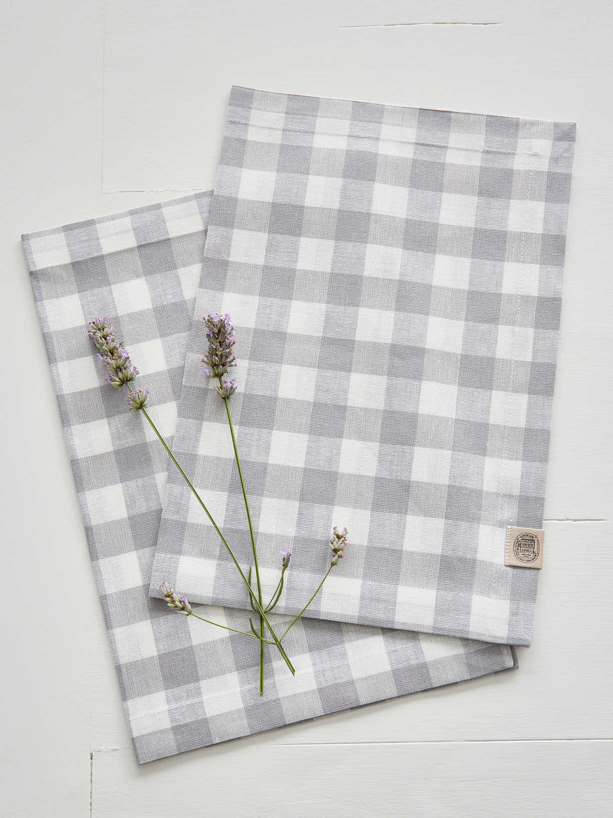 Nordic House Linen Mix Placemats - Light Grey Check