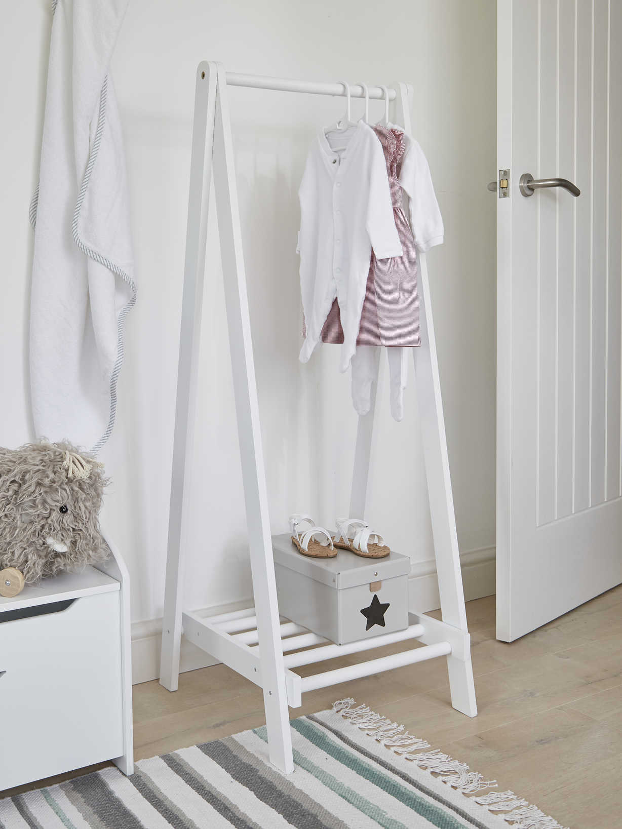 Nordic House White Wooden Clothes Rail