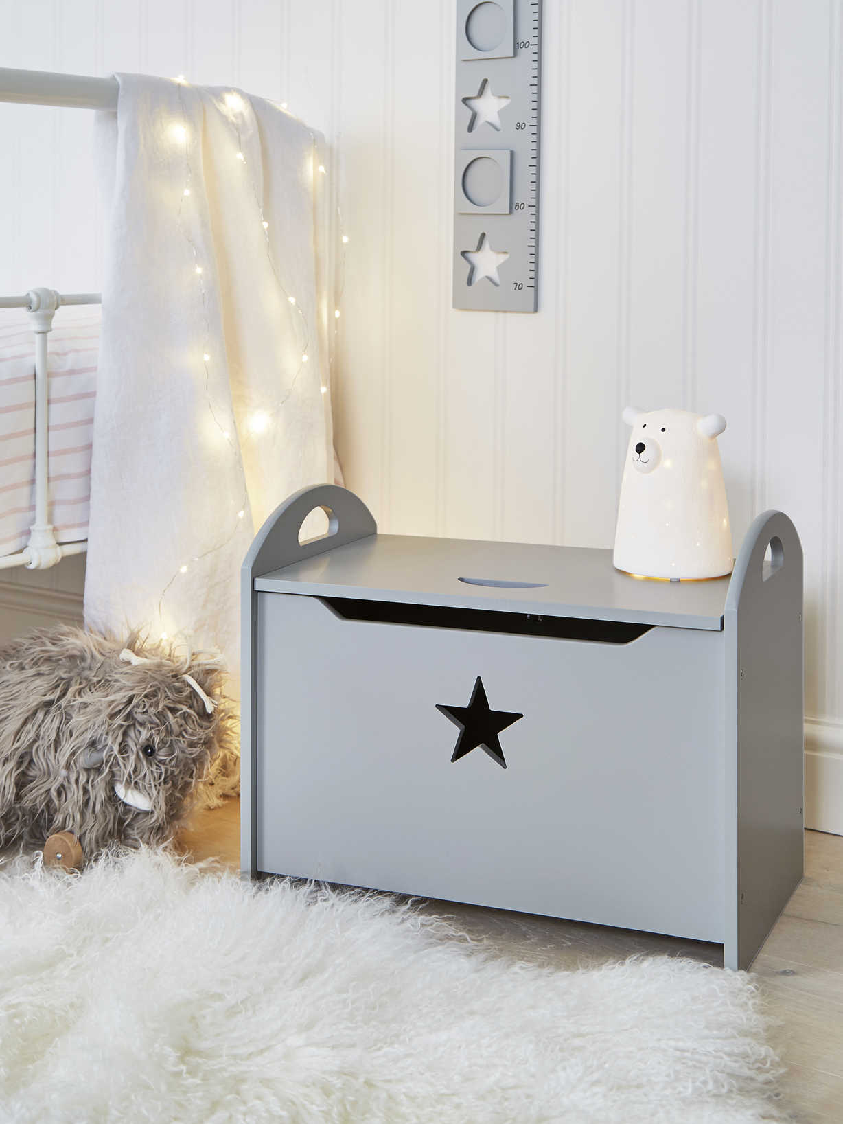 Nordic House Star Toy Chest - Grey