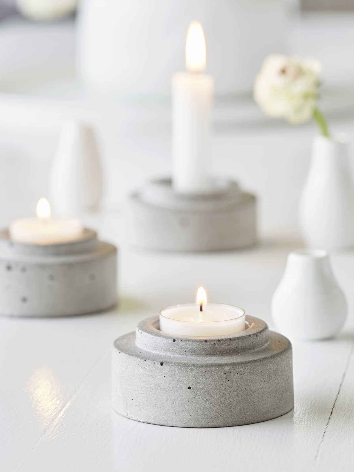 Nordic House Concrete Candle Holder Set