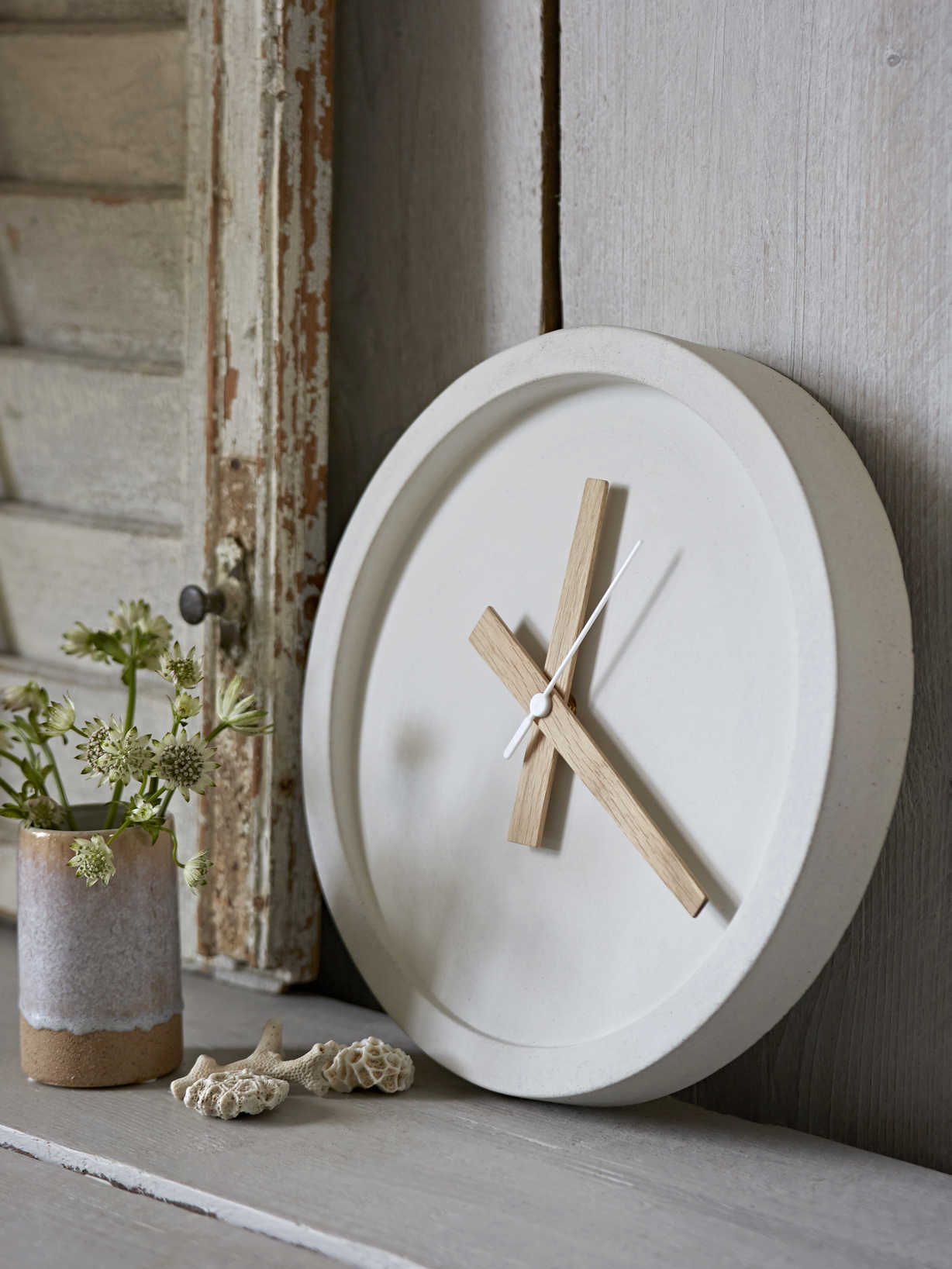 Nordic House White Concrete Clock