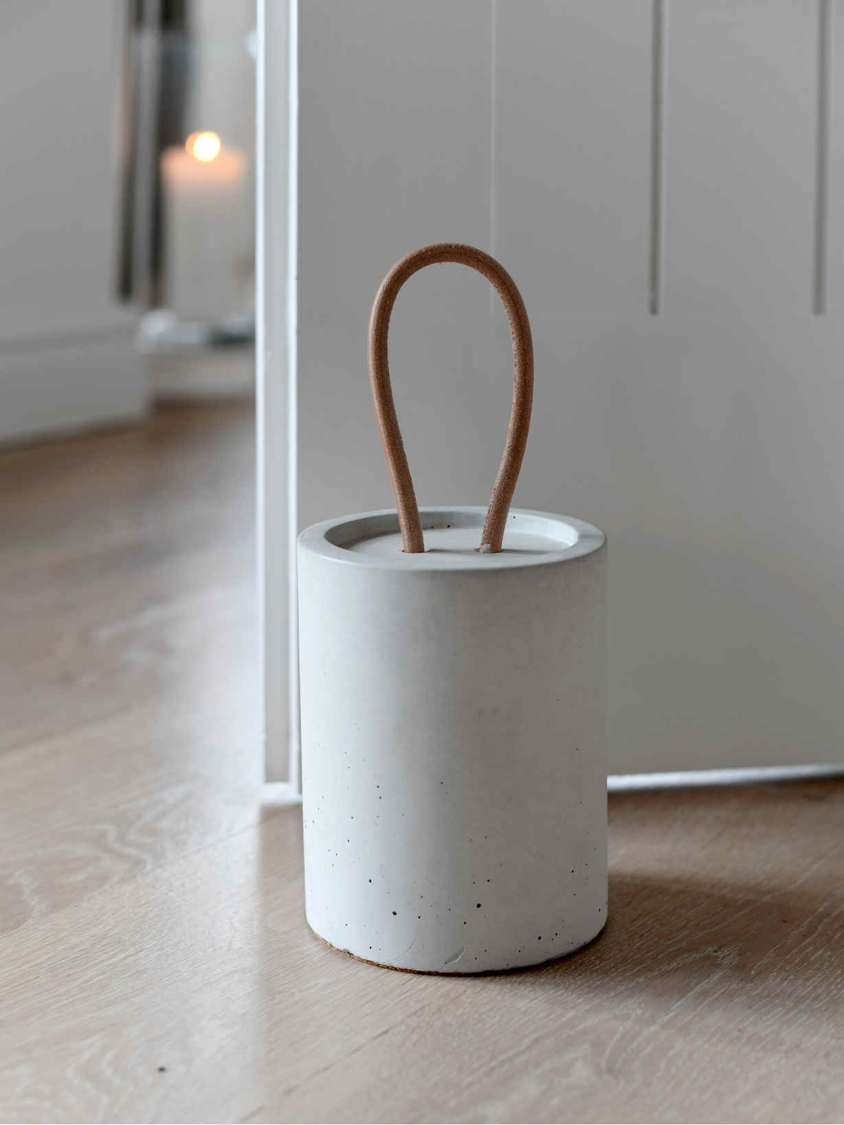 Nordic House White Concrete Doorstop