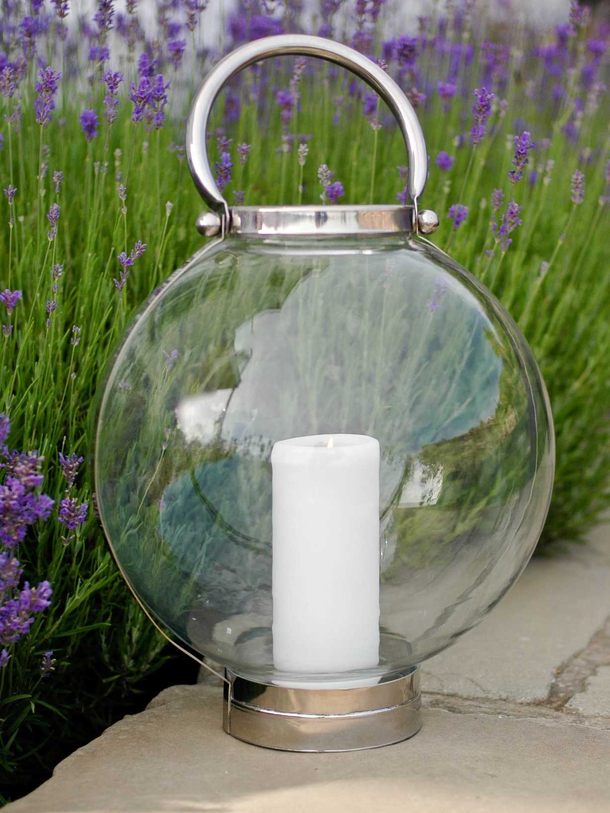 Nordic House Large Glass Storm Lantern