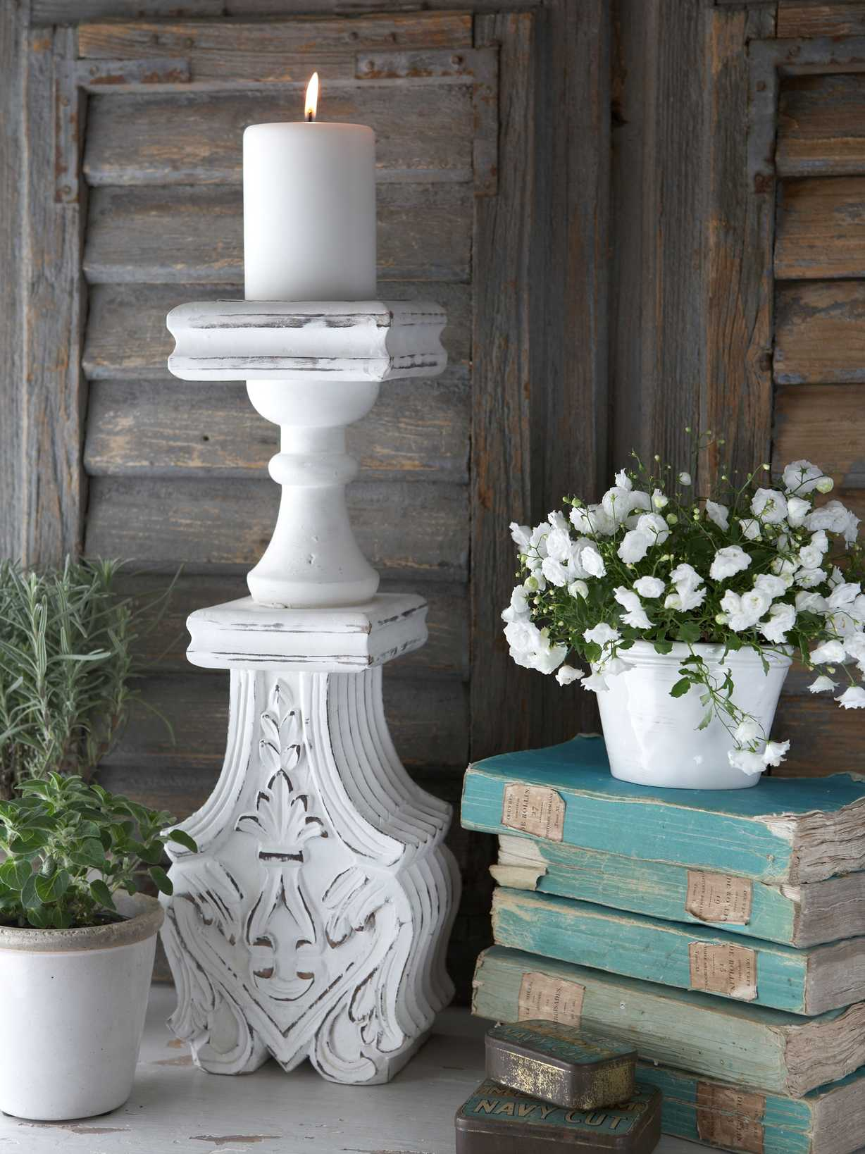 Nordic House Distressed Pillar Candle Holder