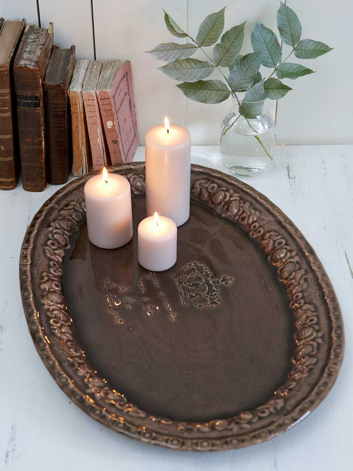 Nordic House Oval Vintage Tray - Taupe