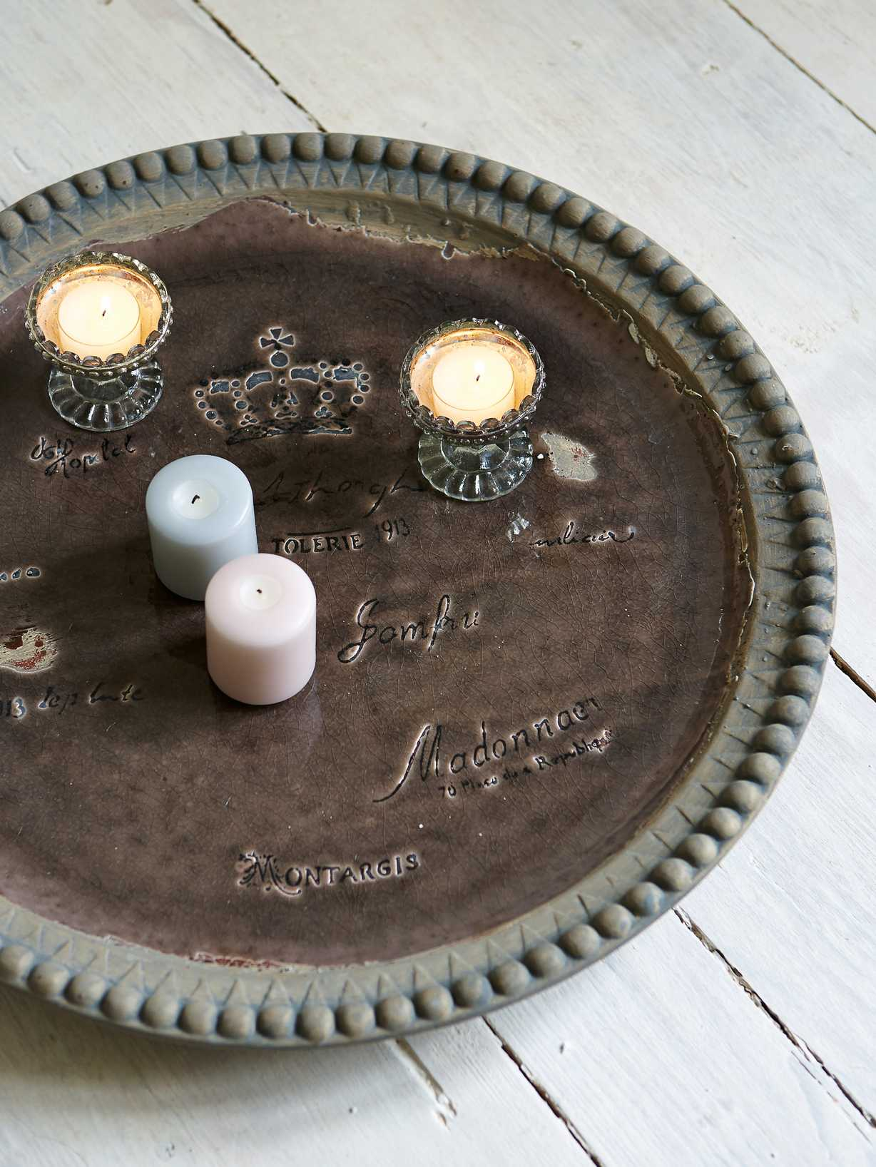 Nordic House Round Vintage Tray - Taupe
