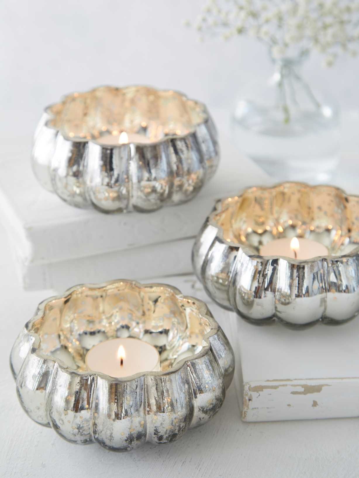 Nordic House Mercury Silvered Tealight Holders