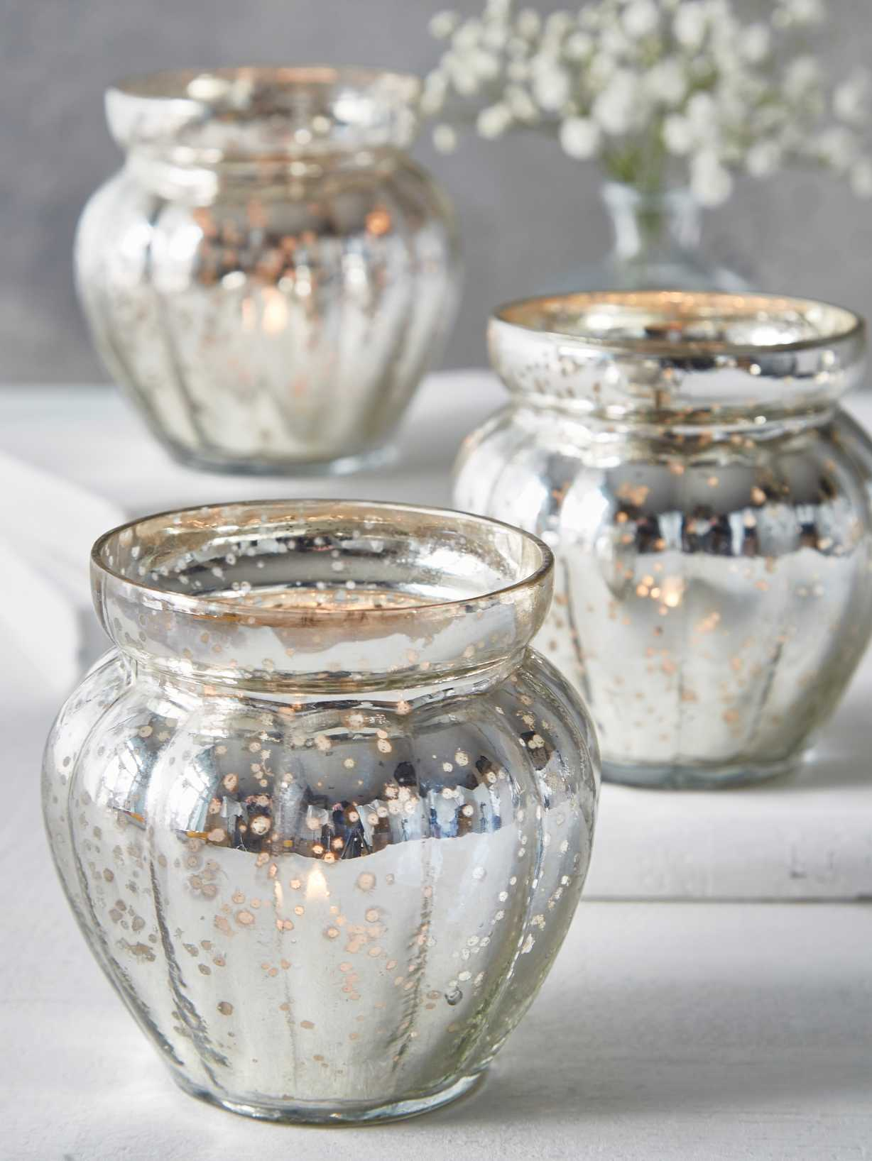 Nordic House Mercury Silvered Pumpkin Tealights