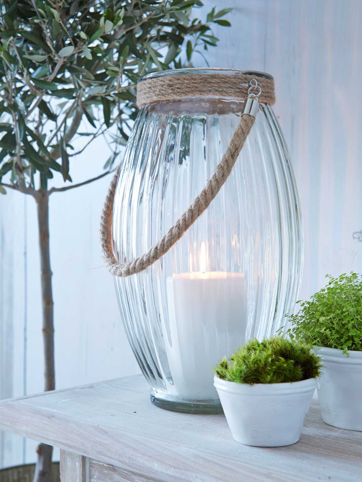 Nordic House Rilled Glass & Rope Hurricane