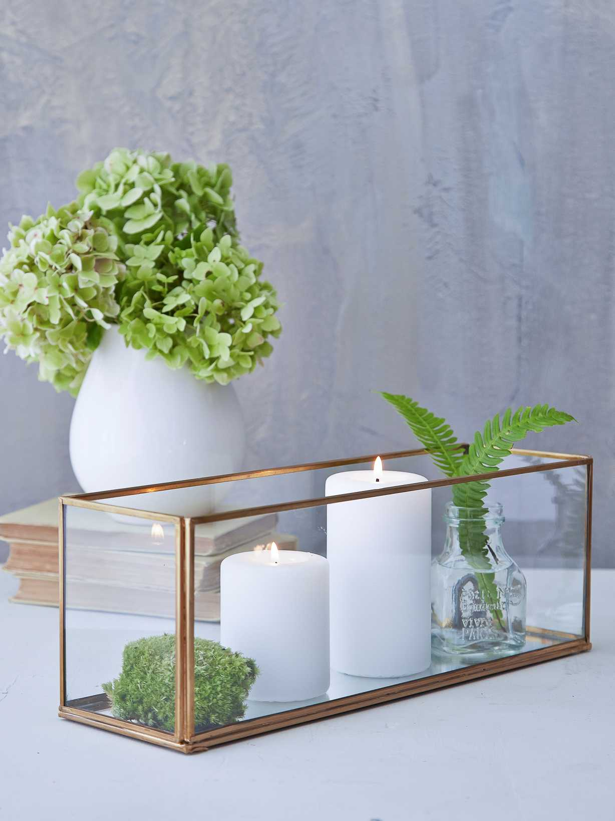 Nordic House Mirrored Brass Candle Box