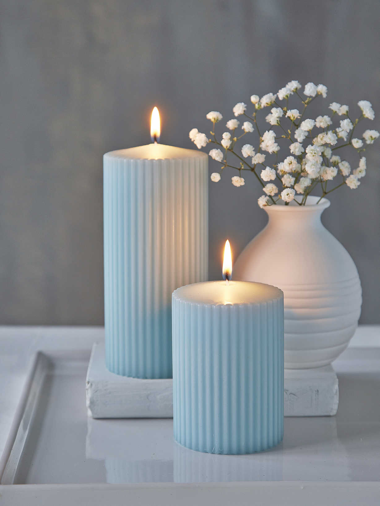 Nordic House Rilled Pillar Candles - Heavenly Blue