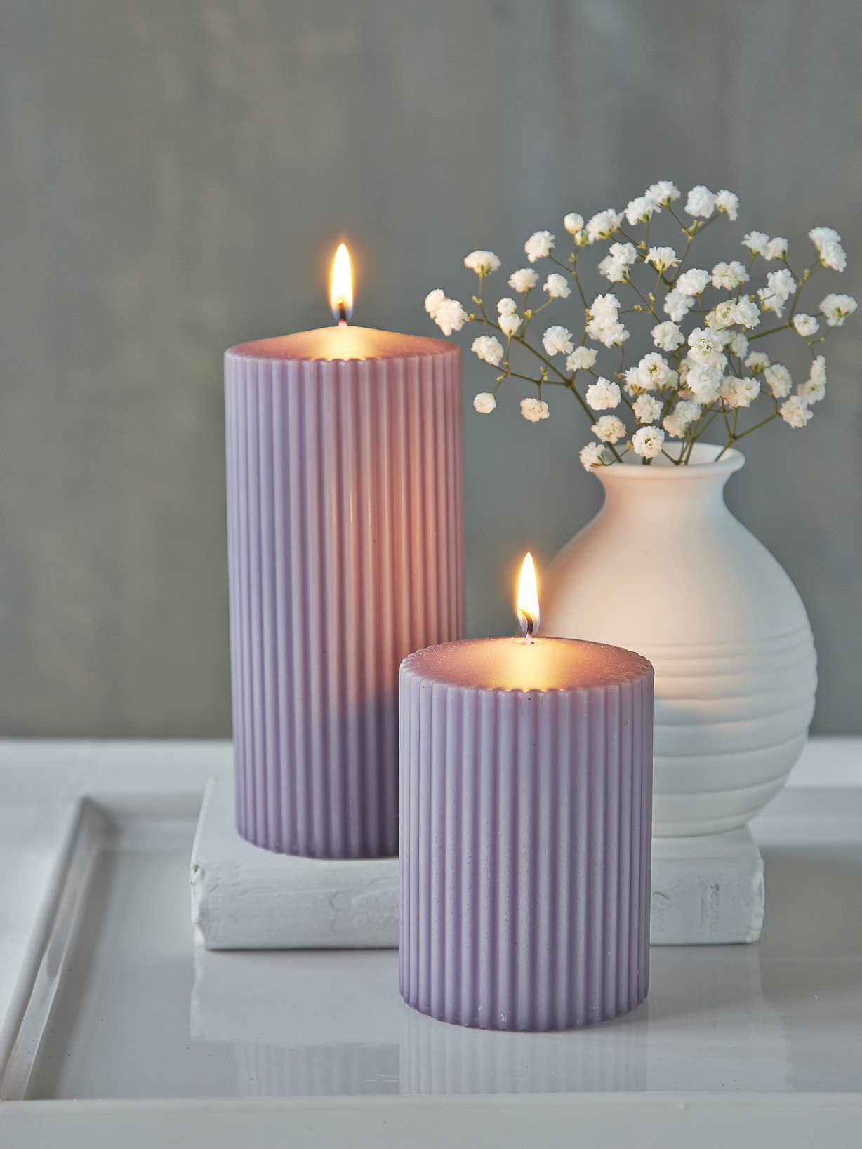 Nordic House Rilled Pillar Candles - Lavender