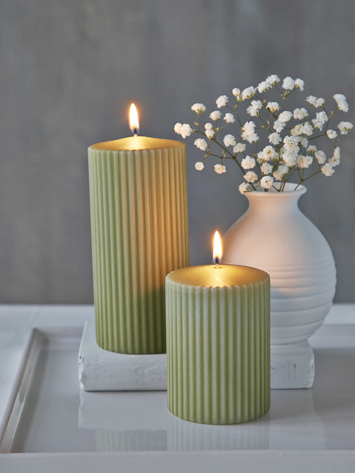 Nordic House Rilled Pillar Candles - Leaf Green