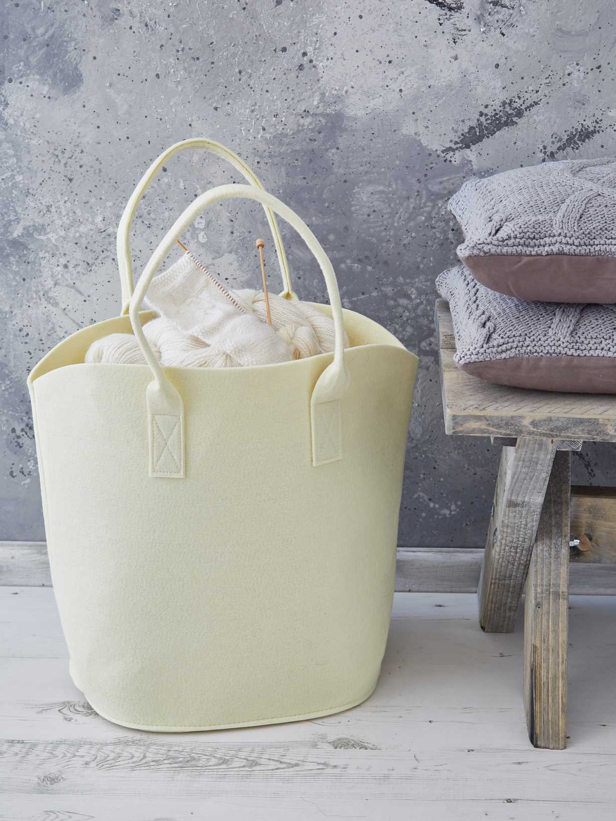 Nordic House Felt Basket - Buttermilk