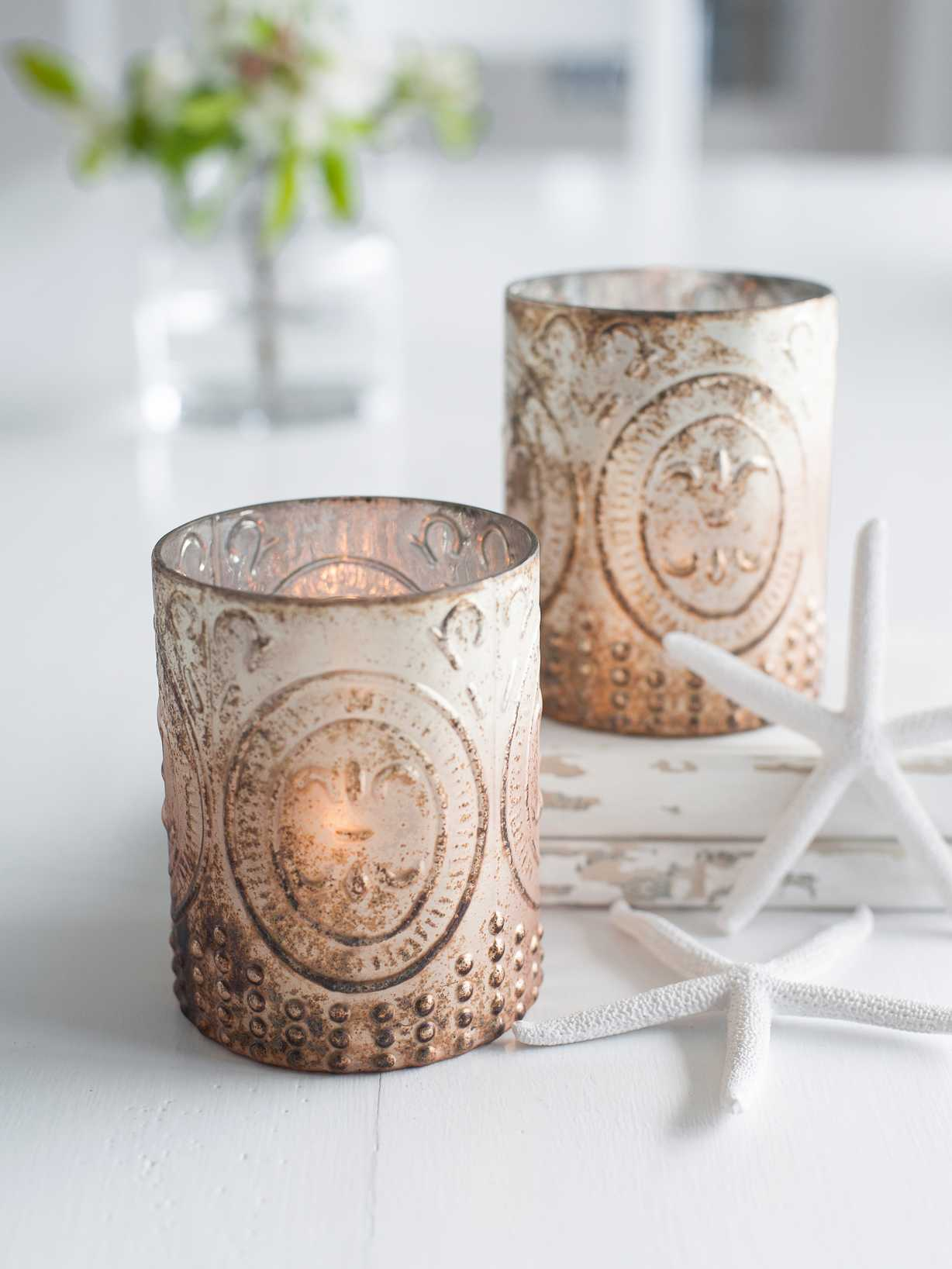 Nordic House Antique Copper Embossed Tealights