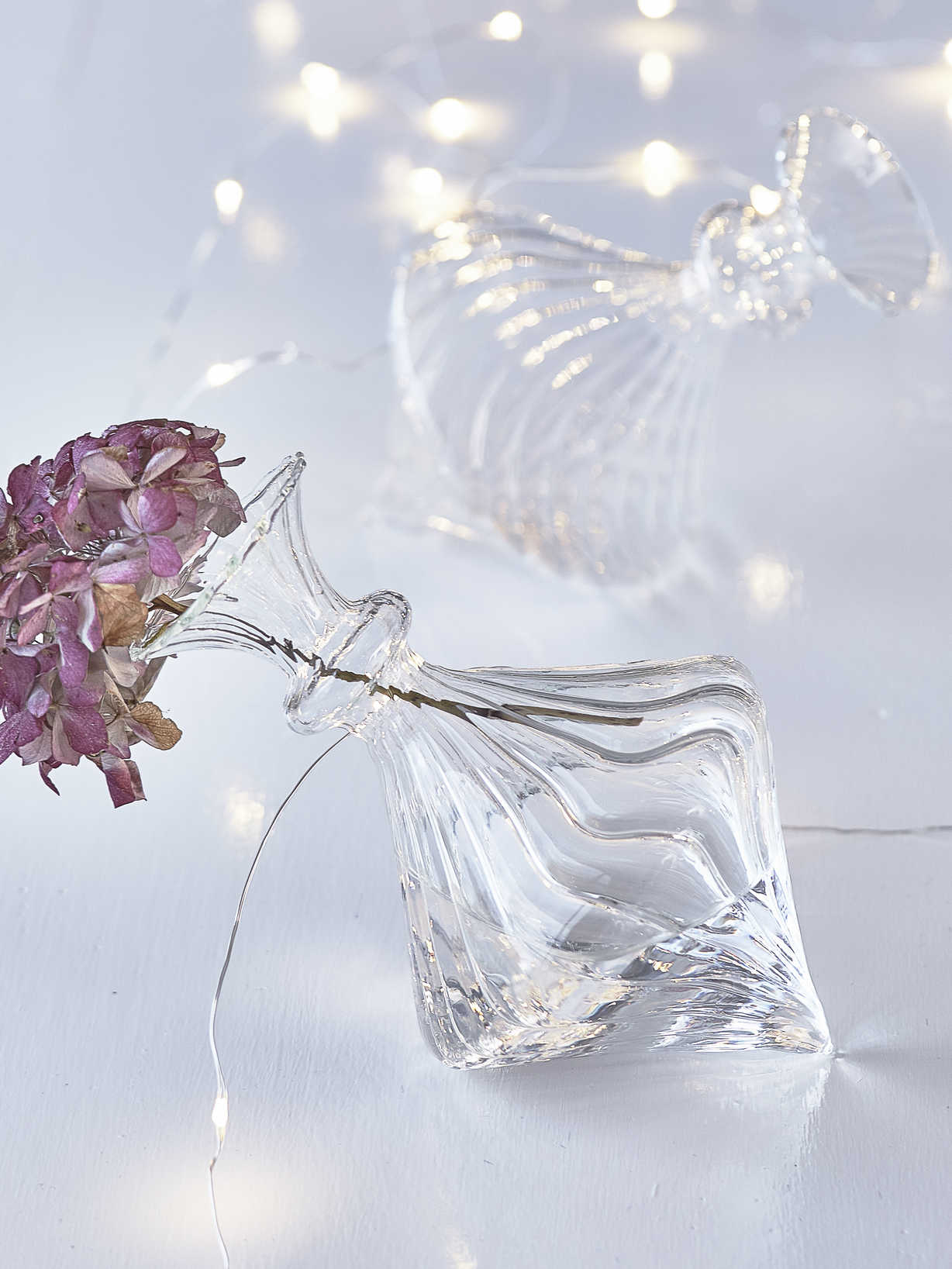 Nordic House Reclining Glass Vase - Rilled