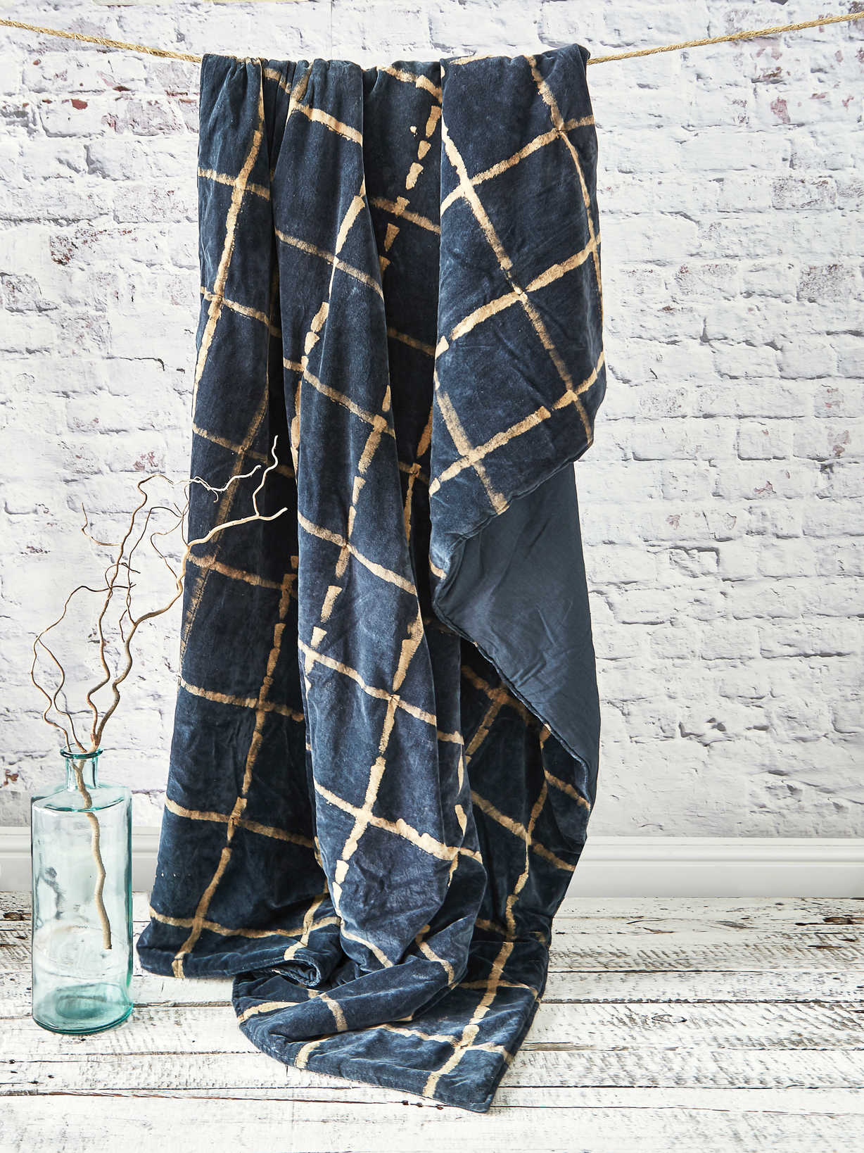 Nordic House Tie-Dyed Velvet Quilted Throw - Midnight Blue
