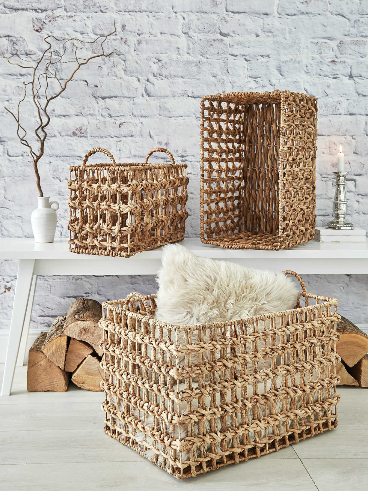 Nordic House Water Hyacinth Basket Set