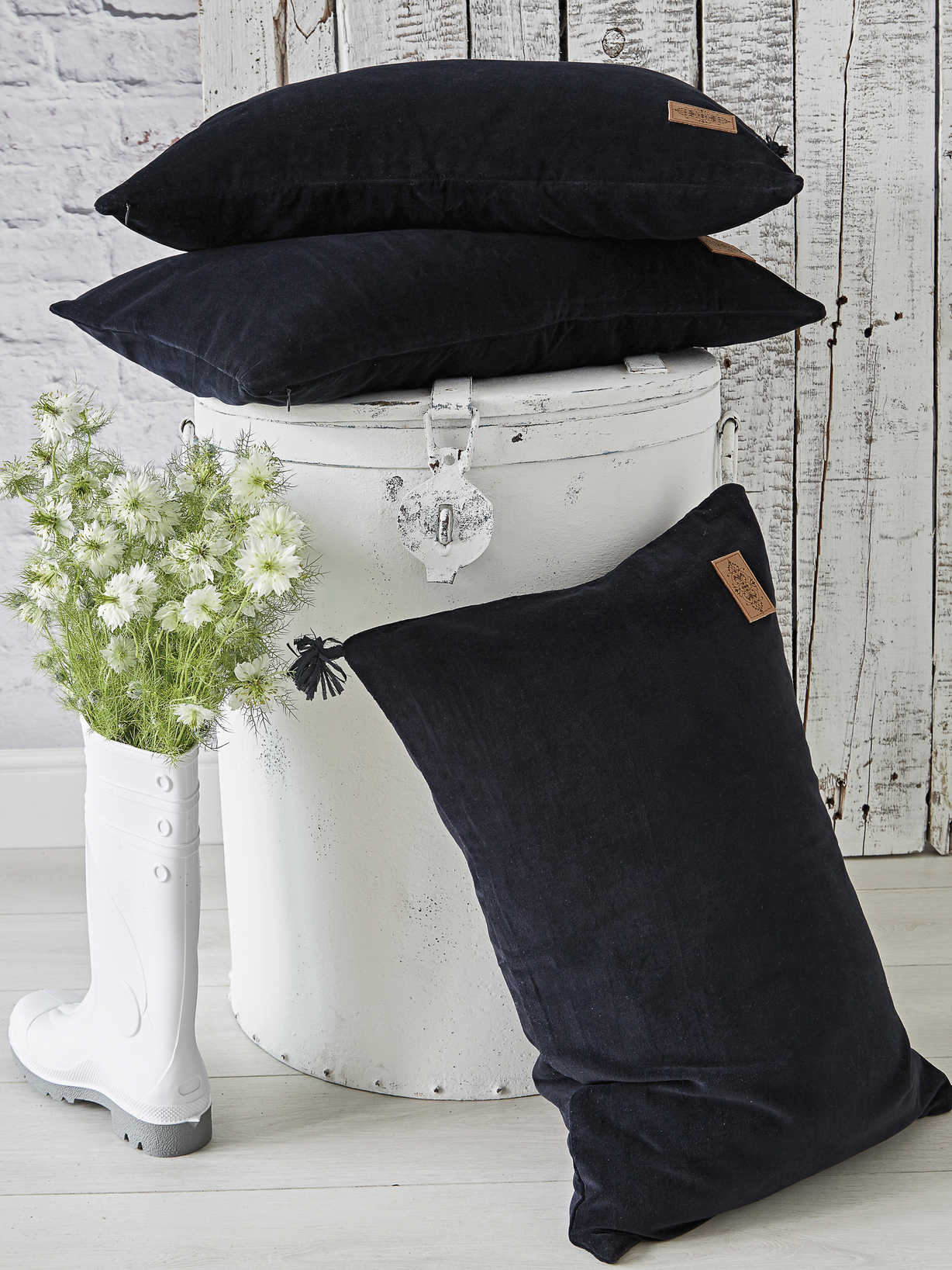 Nordic House Black Velvet Cushion