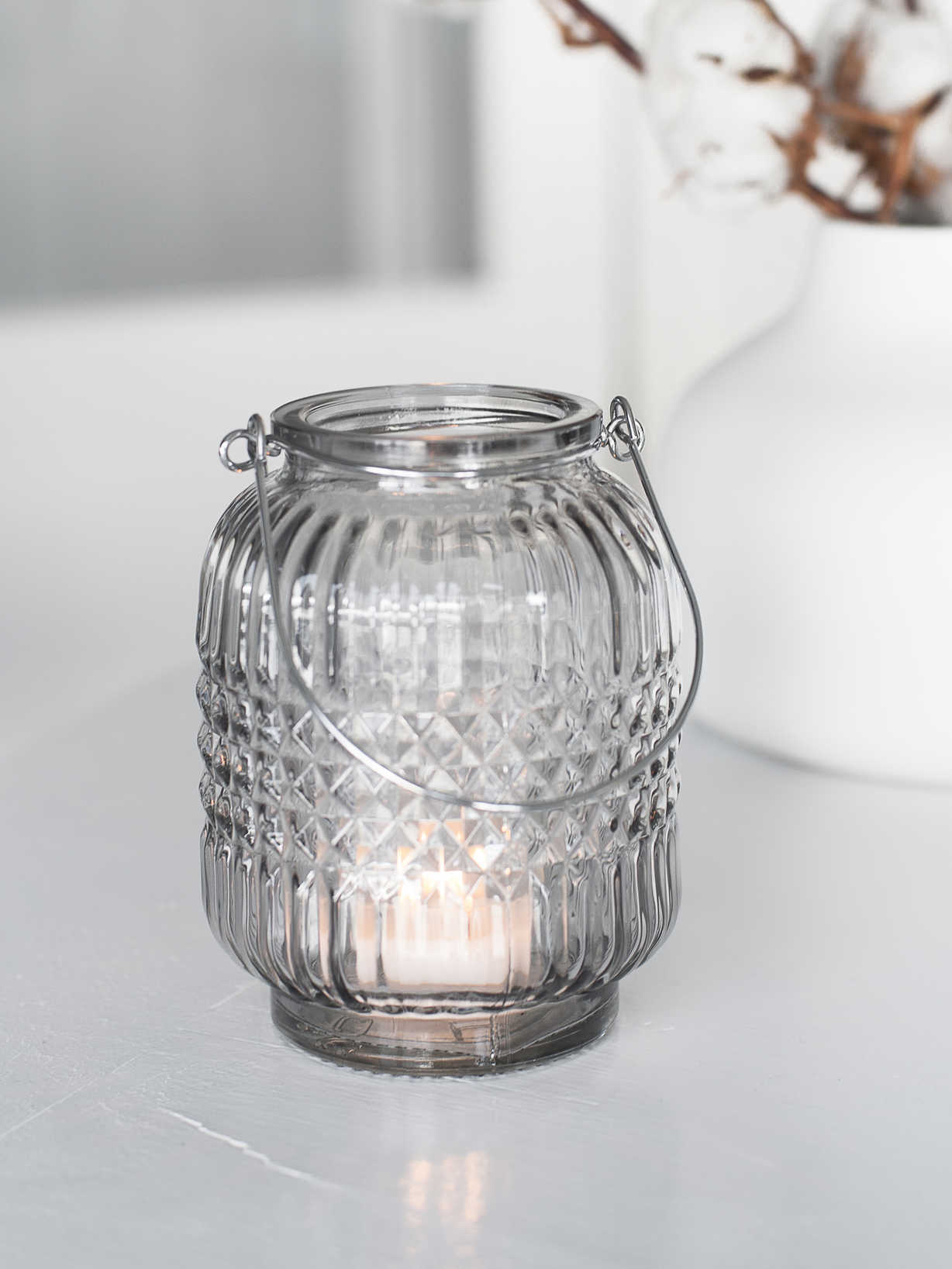 Nordic House Hanging Glass Tealight Set - Smoke Grey