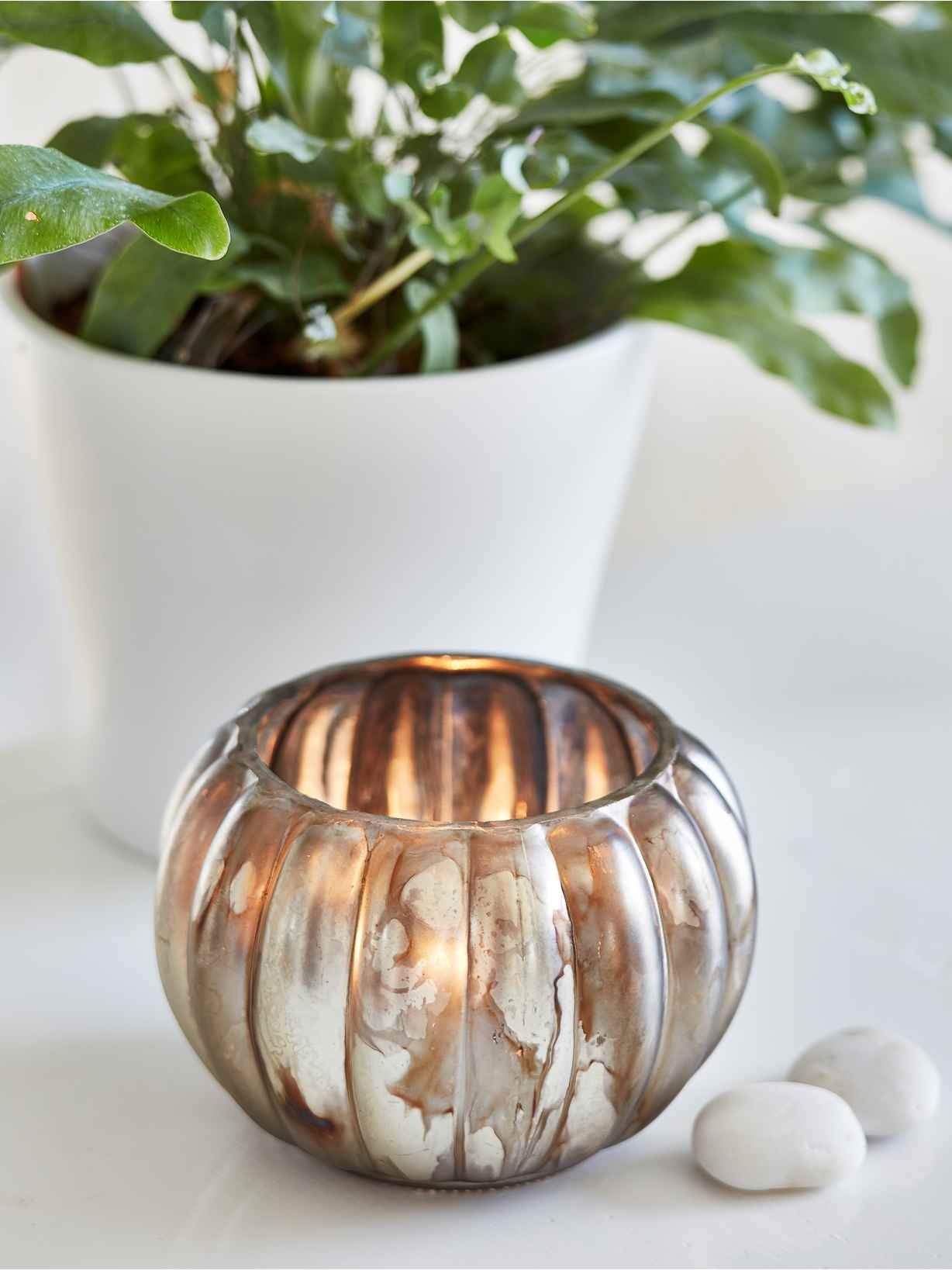 Nordic House Antiqued Pumpkin Tealight Holder