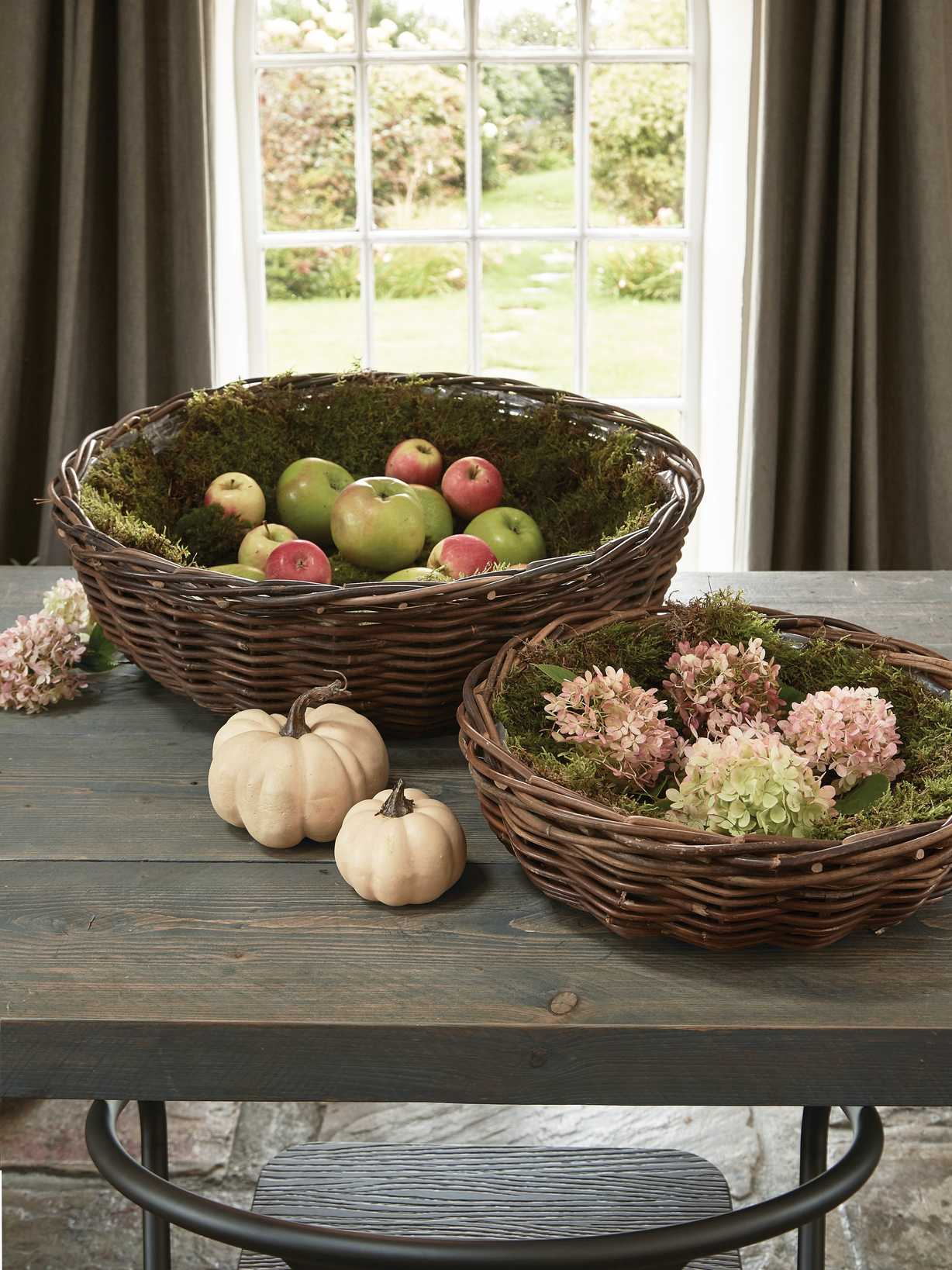 Nordic House Rustic Round Rattan Planters