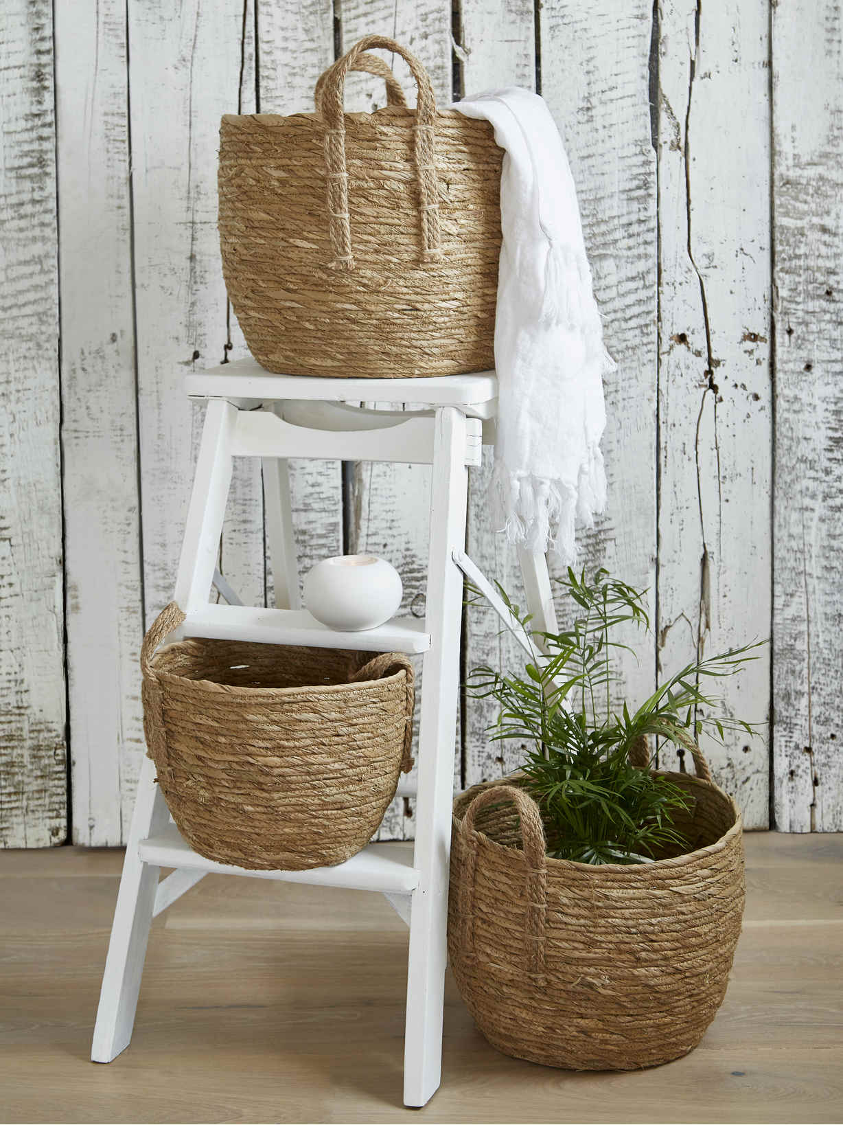 Nordic House Natural Seagrass Basket Set