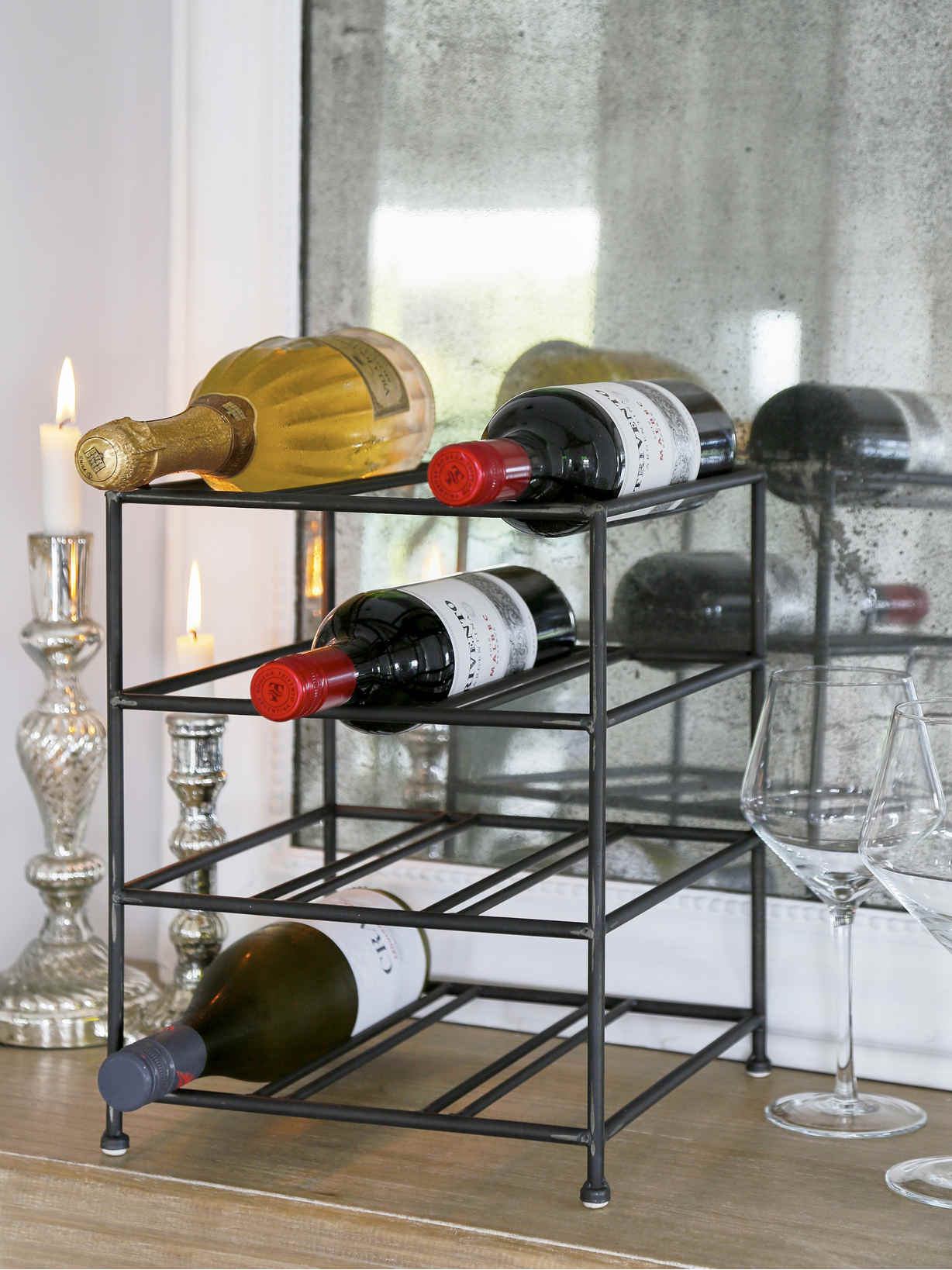 Nordic House Rustic Metal Wine Rack