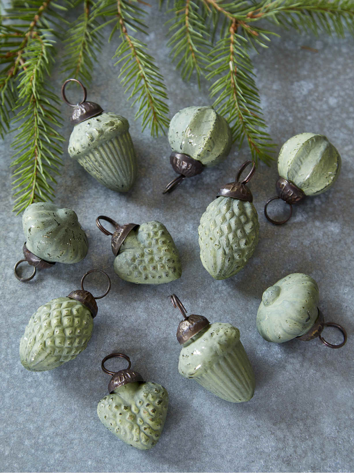 Nordic House Mini Bauble Set - Soft Green